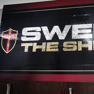 Gameplan Creative Sweep the Sheds Wall Graphic