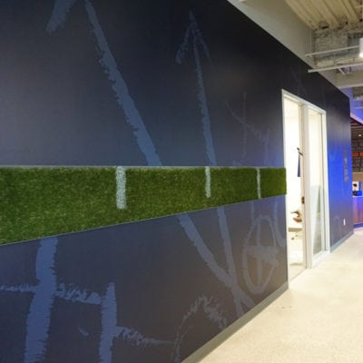 Wide Image of Office Hallway Interior Graphics & Painted Turf (White Lines)
