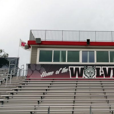School Banner Installed on Exterior at Niles West