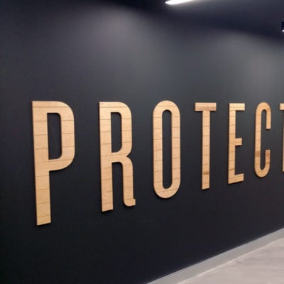 Installed Wood Graphics at Yelp Chicago Office
