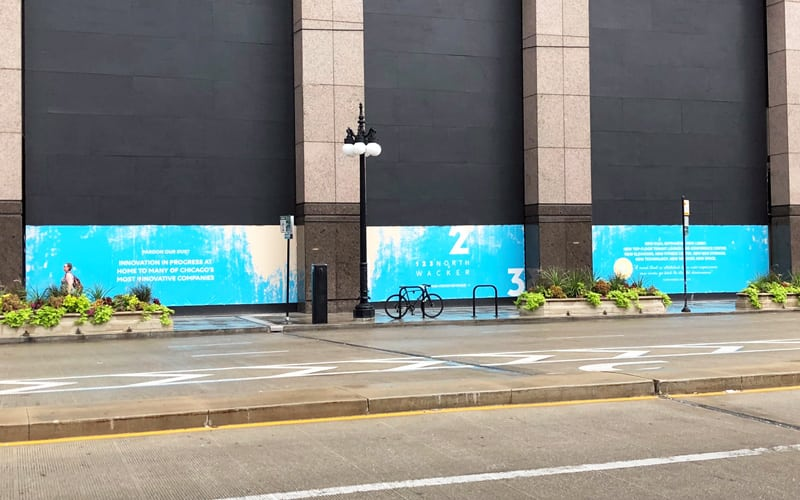 Banners Draw Attention in Downtown Chicago