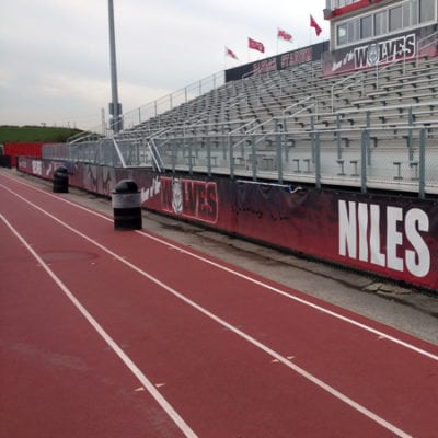 Niles West Banners at School Along Bleachers