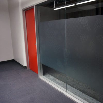 Small Breakroom Privacy Film Printed and Installed at Yelp