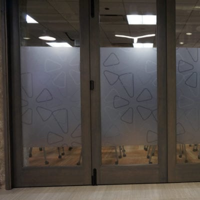 Decorative Privacy Film Printed and Installed in Yelp Conference Room Windows