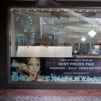 Retail Window Signage at C.D. Peacock