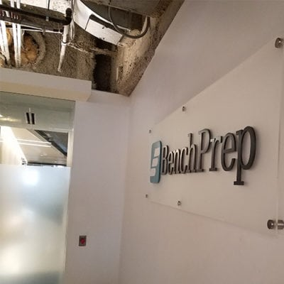 Bench Prep Dimensional Lettering on Acrylic Sign