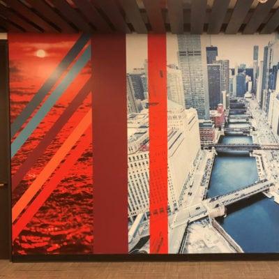 CBRE Chicago River Wall Graphic