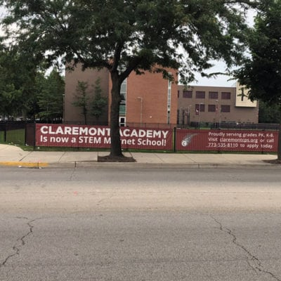 Wide View of Claremont Academy Banners