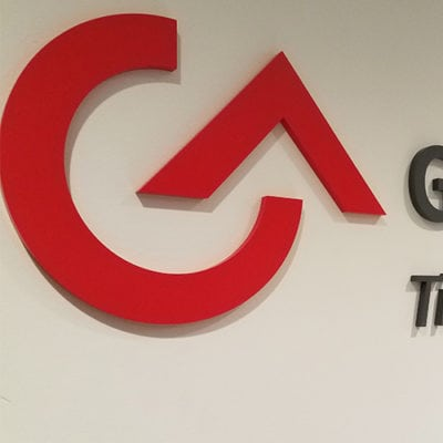 G&A Partners Dimensional Lettering Close Up
