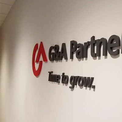 G&A Partners Time to Grow Dimensional Lettering Side View