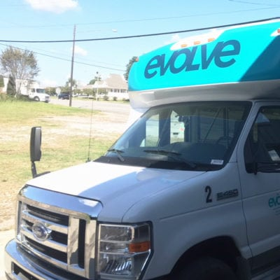 Front of Evolve Vehicle Wrap