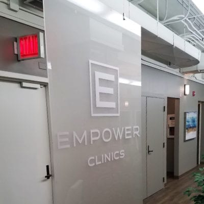 Empower Clinics Hanging Acrylic Panel Interiors by Hardt