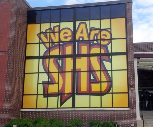 Window Signage at Schaumburg High School.