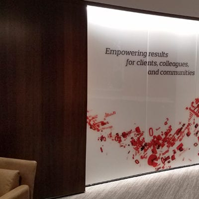 Aon Lincolnshire Empowering Results Wall Graphic