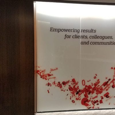 Aon Lincolnshire Empowering Results Wall Graphics Close Up