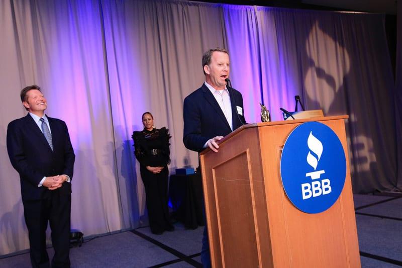 Cushing takes home a torch award 10 joe at podium