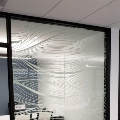 Privacy Project White Ink printed on 3M 8150 With Optically Clear Laminate