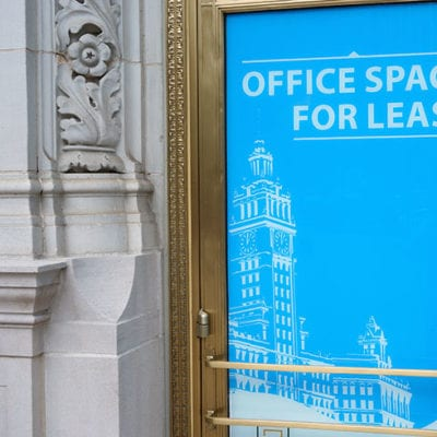 Window Signage Installed On Door at Wrigley Building