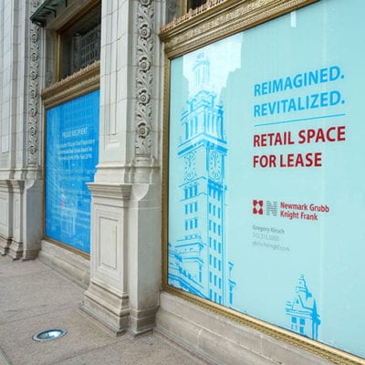 Side View of Window Graphic at Wrigley Building