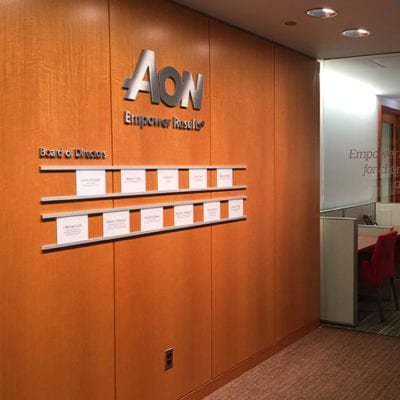 AON Dimensional Lettering in Lobby