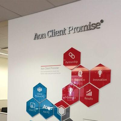 Aon Client Promise Dimensional Lettering
