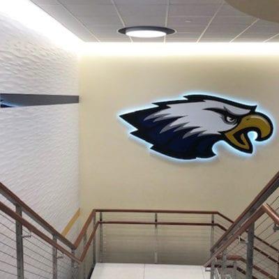 Dimensional Backlit Signage at Leyden High School