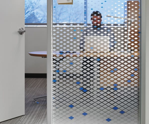 Detailed Weeding of Office Privacy Vinyl