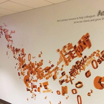 Hallway Aon University Dimensional Lettering