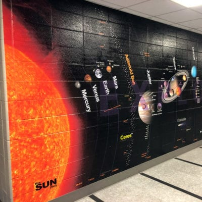 Outerspace Wall Graphic in Middle School