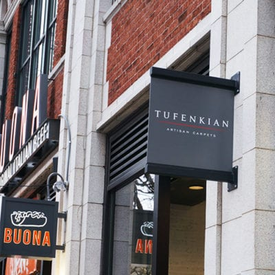 Tufenkian Blade Sign Installed to Building Exterior