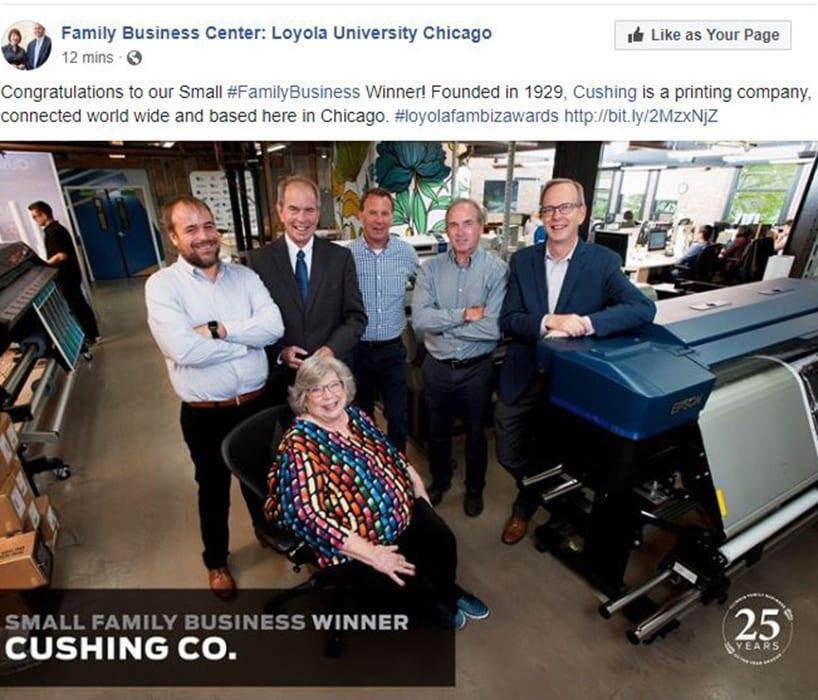 Cushing Small Family Business Award Facebook Post