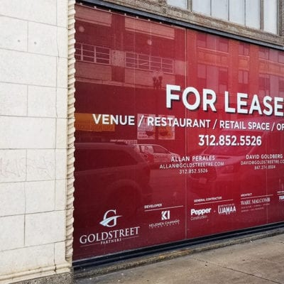 For Lease Window Graphics Pepper Construction