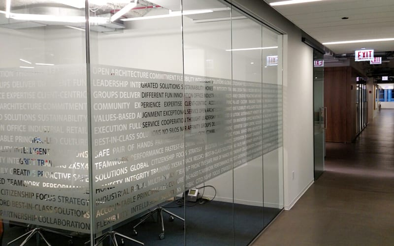 Decorative Privacy Vinyl Installed at Avison Young