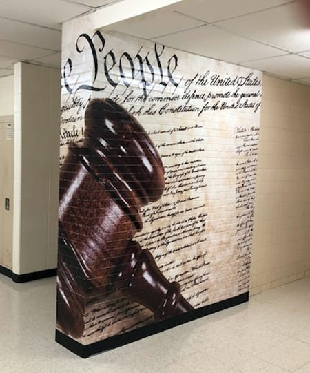 Constitution Wall Graphic at John Hershey High School in Arlington Heights
