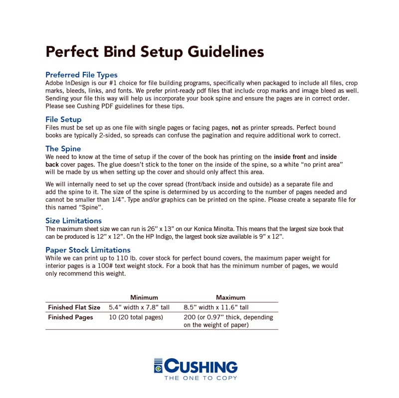 Perfect Book Print and Binding Guidelines