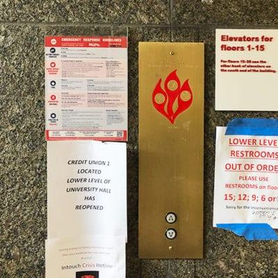 Elevator 1-15 Directional Signage UIC Meccor Industries