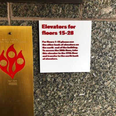 Elevator 15-28 Directional Signage UIC Meccor Industries