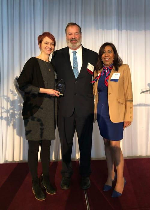 Cushing Account Manager Wins Art Bryan Award 5 Josette John Buckingham And Marty Padilla After Josette Receives Award