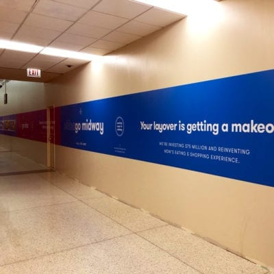 Close Up of Temporary Graphics at Midway Airport