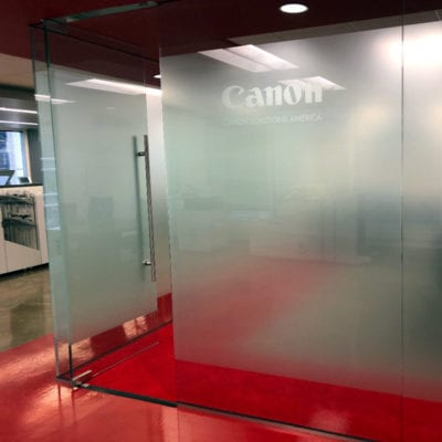 Privacy Vinyl at Canon Offices