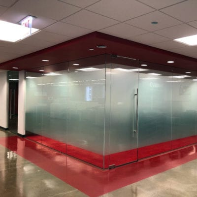 Privacy Vinyl Dusted Crystal Second Surface in Canon Office