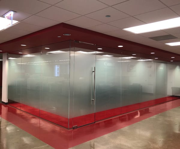 Frosted Privacy Vinyl Installed at Canon