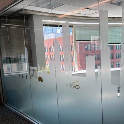 Privacy Film Installed in Pareto Intelligence Conference Room