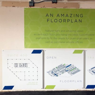 Signs Printed to White Ultra Board in Space for Lease