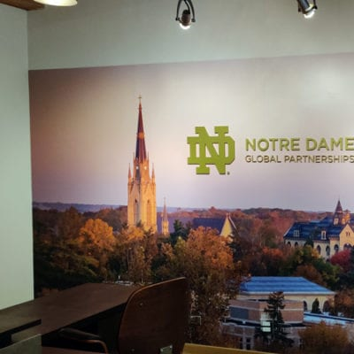 Acrylic and Wall Graphics Installation at Notre Dame Global Partnerships