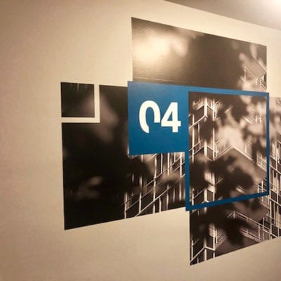 Wall Graphics With Floor Number in Office Building