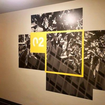 Unique Wayfinding Graphic Installed in Office Hallway