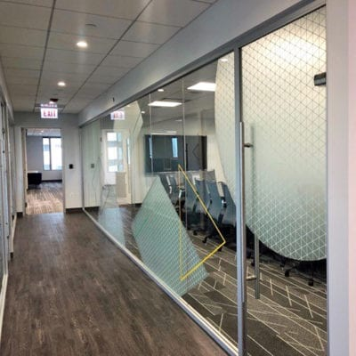 Side View of Conference Room Window Graphics