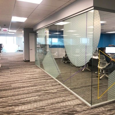 Decorative Conference Room Privacy Film at Duck Creek Technologies