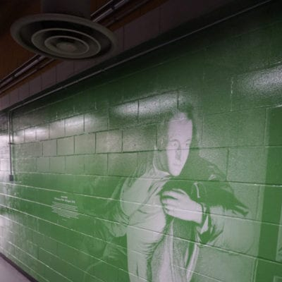 Green Concrete Wall Graphics Installed on Concrete at UIC